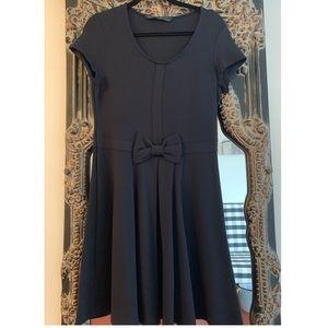 Zara Navy A-line Dress with bow detail - sz XL